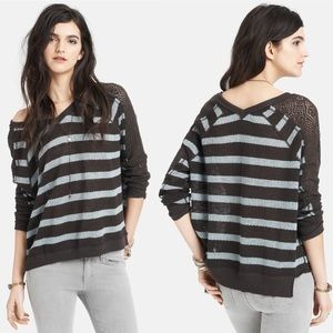 Free People Striped Pointelle Doman Sleeve Sweater